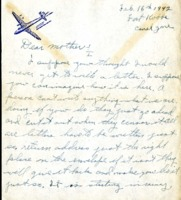 Letter from Daniel Klapproth to his mother while stationed in Fort Kobbe, Canal Zone, February 16, 1942